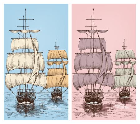 Sailboats retro design vector illustration set Ilustrace