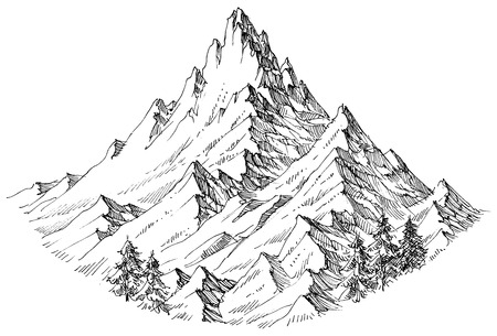 Mountain peak isolated vector illustration Иллюстрация