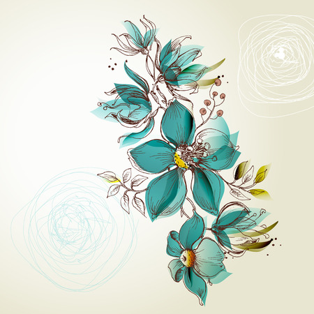 Retro flowers greeting card, invitation for events
