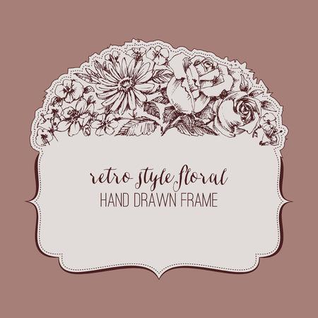 Vintage style floral frame Illustration