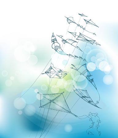 Kites flying in the blue sky. Vector illustration.