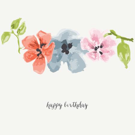Watercolor flowers greeting card. Vector illustration. Illustration
