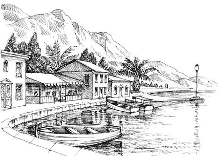 Disegno del porto. Piccoli edifici e barche a terra