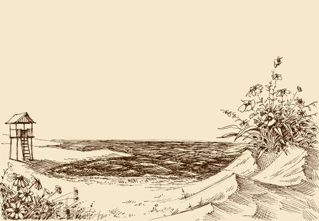 Vue mer depuis la plage. Tour de sauveteur en arrière-plan Vecteurs
