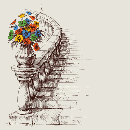 Stairway and railing sketch. House interior artistic design