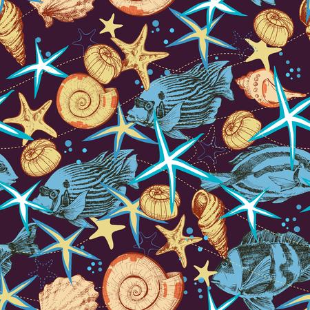 Sea life seamless pattern. Underwater background, fish and seashells print