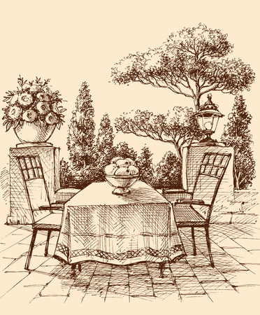 Lounge, restaurant or house terrace in the garden, table setting drawing