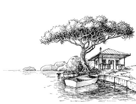 Dibujo de la orilla del lago o del río. Barco y chalet en tierra.