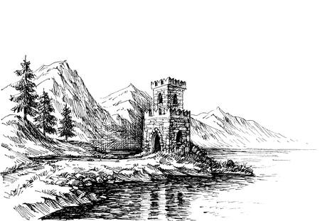 Old castle on a river bank landscape