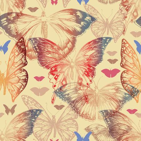 Butterfly seamless pattern in retro style