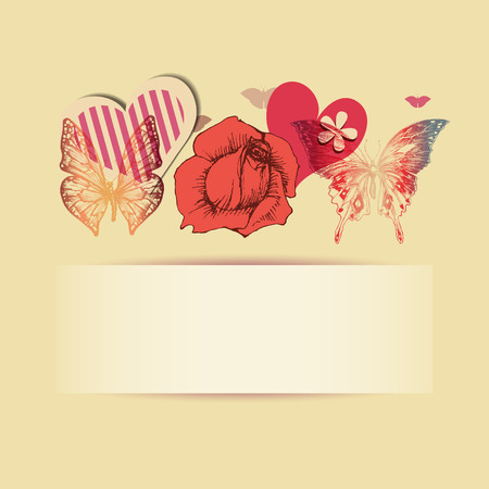 Love background with space for text. Rose, hearts and beautiful butterflies