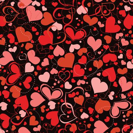 Red and pink hearts seamless pattern over dark background Ilustração