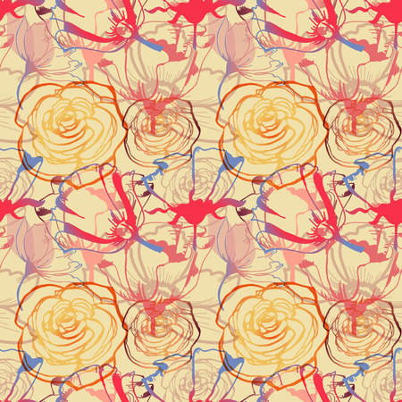 Floral seamless pattern, roses and tulips cheerful print
