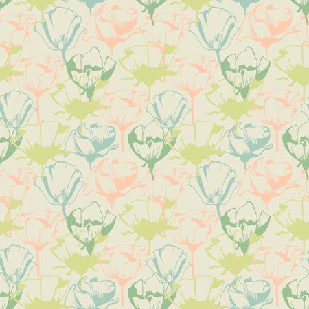 Retro soft floral seamless pattern Ilustração