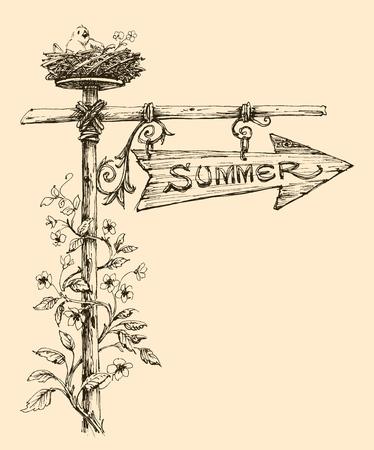 Summer holidays announcement. Wooden arrow indicating summer season and a cute bird in it's nest Ilustração