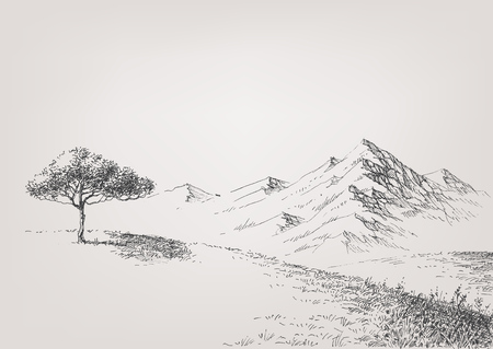 Alpine meadow hand drawing. High hills and mountains in the background Vectores