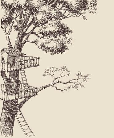 Fond de vecteur de maison d'arbre