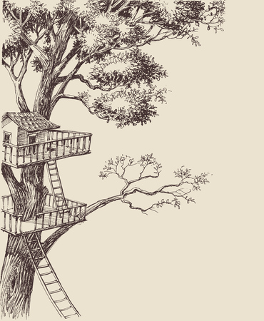 Tree house vector background
