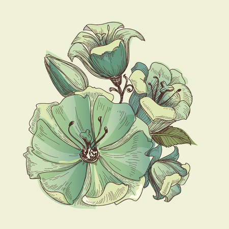 Floral bouquet, vector lilies design Ilustração