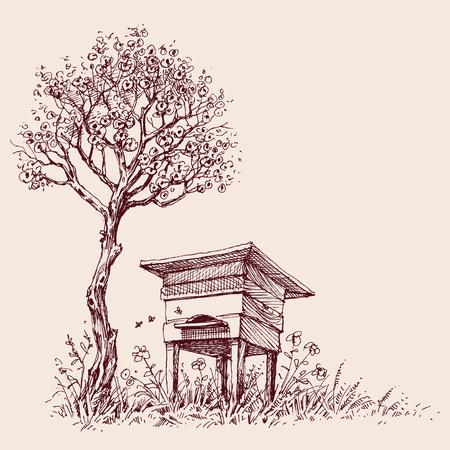 Beehive under a tree in bloom Ilustração