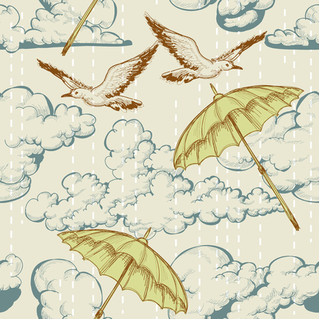 Sky seamless pattern. Clouds and rain, umbrellas flying up in the sky