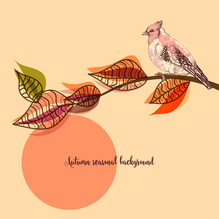 Fall seasonal background, bird on a tree branch Ilustração