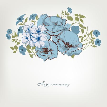 Floral background, blue flowers bouquet Ilustração