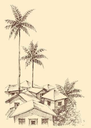 Small city by the sea sketch Ilustração