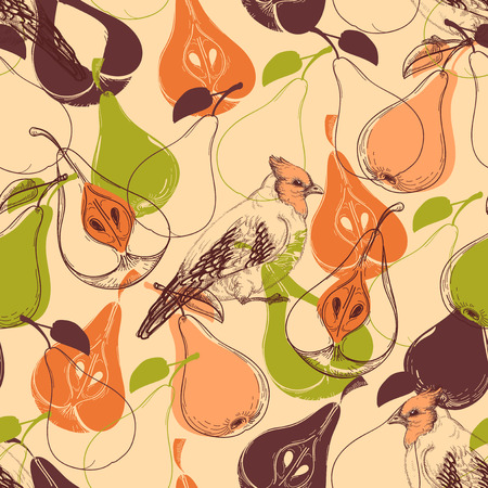 Fall seamless pattern, fruits and birds