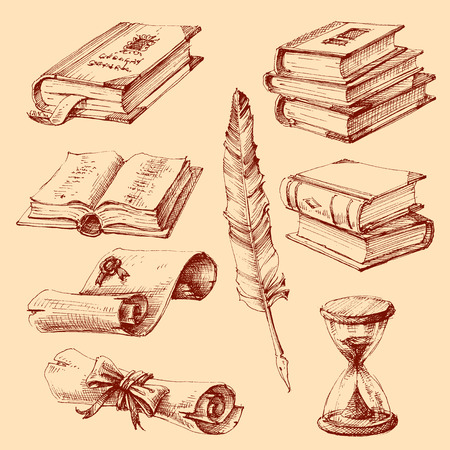 Education, school and graduation set. Books, diploma and writing instruments