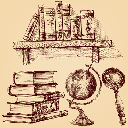 Books and education set.  A wooden shelf of books, earth globe, magnifying glass, stack of various books Ilustracja