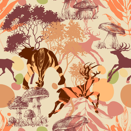 Animals in the forest seamless pattern 写真素材 - 108133016