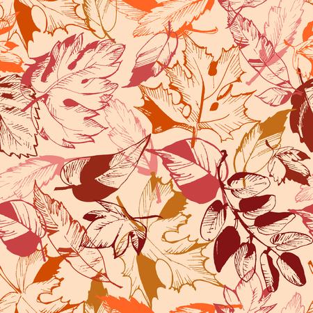 otoño hoja patrón transparente Ilustración de vector
