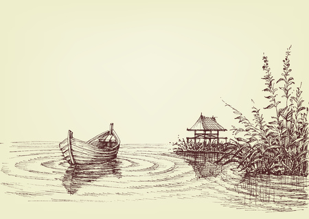 Lake drawing, empty boat on water ripples, cattail and fishery on shore Illustration