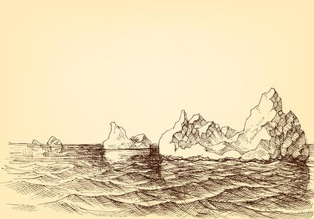 Góra lodowa na rysunku oceanu