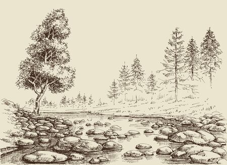 Dibujo de río. Flujo de agua, rocas y bosquejo del paisaje de la naturaleza