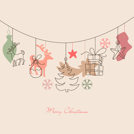 Christmas background, cute holiday ornaments