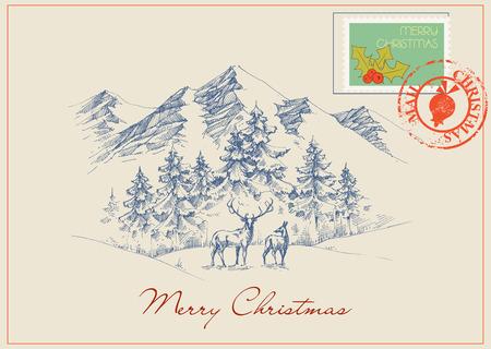 Christmas postcard in vintage style. Winter scene, mountains and forest background Ilustração