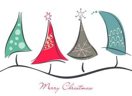 Cute decorative Christmas trees Ilustração