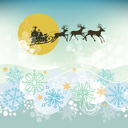 Christmas eve scene, Santa Claus sleigh silhouette on the sky in the moonlight