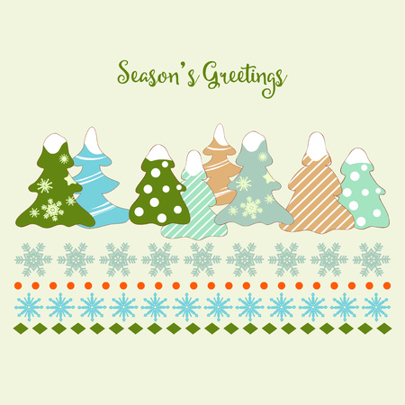 Cute Christmas trees and snowflakes greeting card  イラスト・ベクター素材