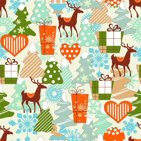 Christmas pattern, reindeers and gifts