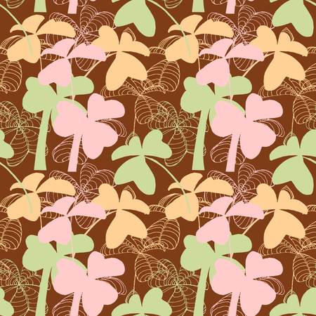 Clover seamless pattern in pastel colors