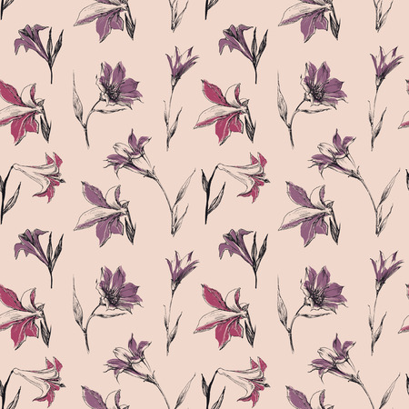 Small spring flowers in retro colors seamless pattern. Lily vector wallpaper  イラスト・ベクター素材