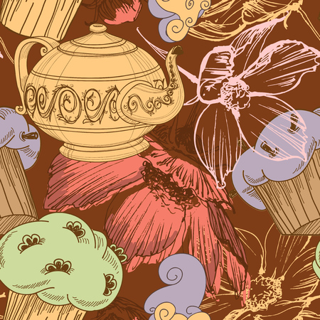 Tea, coffee and cupcakes seamless pattern. Festive pattern for birthday party, various events