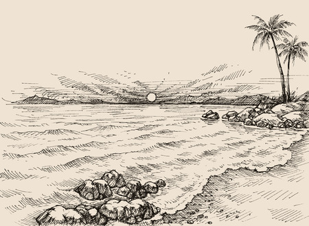 Sunrise on the beach drawing. Sea view and palm trees on shore  イラスト・ベクター素材