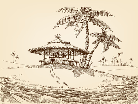 Sea shore landscape. Beach bar and palm trees drawing