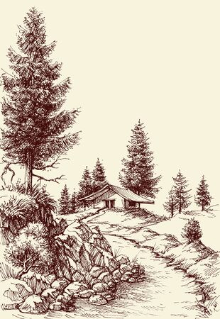 Idyllic landscape hand drawing.  A footpath to the house sketch Illustration