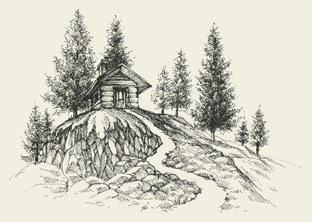 Dibujo a mano lugar relajante, un retiro en el paisaje de la naturaleza