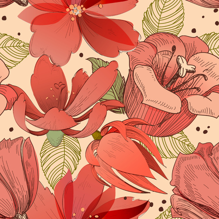 Coral red flowers seamless pattern  イラスト・ベクター素材